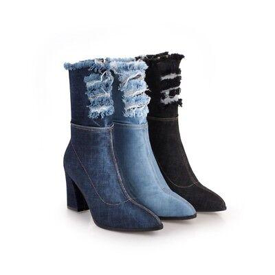 British Ladies Pointed Toe Slim Heel Slip On Party Club Denim Shoes Elegant  New