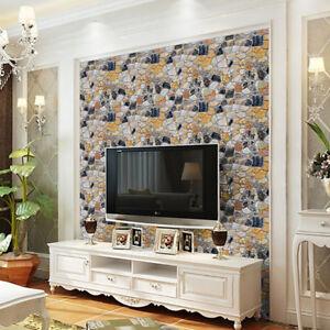 3D-Wallpaper-Brick-Stone-Rustic-Effect-Self-adhesive-Wall-Sticker-Room-Decor-New