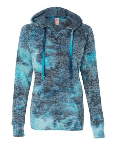 MV Sport Ladies Courtney Burnout V-Notch Hooded Sweatshirt W1162 S-2XL 3 Colors!