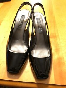 3811ca557bb90 Details about Prevata Womens Shoes Size 9.1/2 Black Peep Toe Wedge Leather  Heels