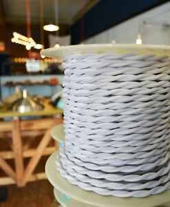 WHITE - Twisted Cloth Covered Electrical Wire 25 ft - Steampunk Retro