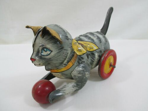 Vintage 1940's Marx Tin Litho Lever Action Kitten Toy Rare Leather Ears