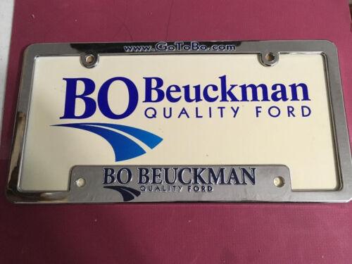 Dealer Plastic Frame Advertising License Plate BO BEUCKMAN FORD ELLISVILLE MO