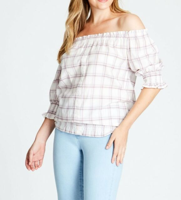 Crossroads Off The Shoulders Pink Check Button Through Top Size 18 (Free Post)