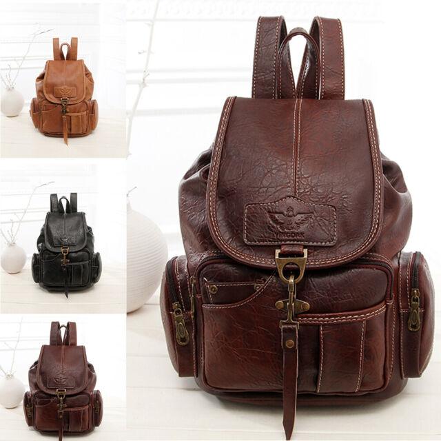 New Casual Canvas Leather Backpack Rucksack Travel Satchel Shoulder School Bag