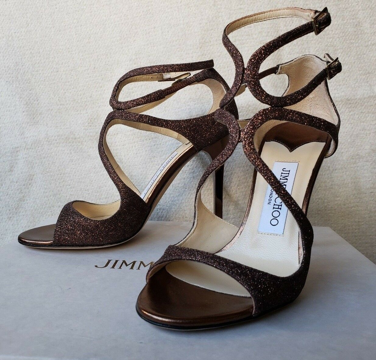 Jimmy Choo Lang 36 6 5.5 Cage Strappy Sandal Paloma Bronze Brown Glitter Copper
