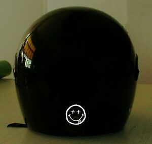 Details about SMILEY FACE NIRVANA MOTORCYCLE REFLECTIVE HELMET DECAL 2 FOR  1 PRICE