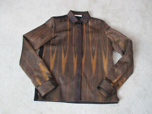 NEW-Celine-Jacket-Womens-Extra-Small-Size-4-EUR-38-Wood-Grain-Run-Way-Coat-2337