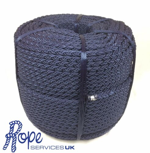 10mm 8 Strand Navy Nylon Rope x 220m, Anchor Mooring Rope Multiplait Octoplait