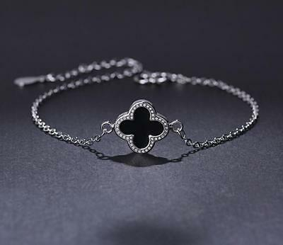 925 Sterling Silver Flower Four-leaf Lucky Clover Black Pendant Chain Necklace