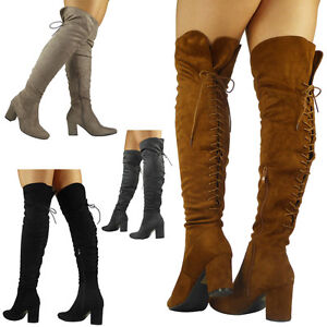 Womens Ladies Thigh High Over The Knee Boots Long Faux Suede Lace Up ... 982da46862e3b