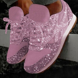Women-039-s-Fashion-Casual-Breathable-Bling-Lace-Up-Sport-Running-Shoes-Sneakers