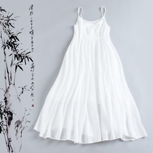 f0dad900784a Details about HOT Retro Women's Casual Loose Linen Sleeveless Camisole Full Long  Dress Maxi