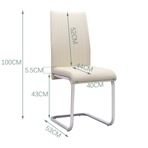 2/4/6x Striped Leather High Back Cantilever Dining Chairs with Chrome Base Legs Cream White,Brown,Black
