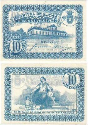 Portugal 20 centavos emergency Cedula Arcos Valdevez 1920s Hospital Sao Jose UNC