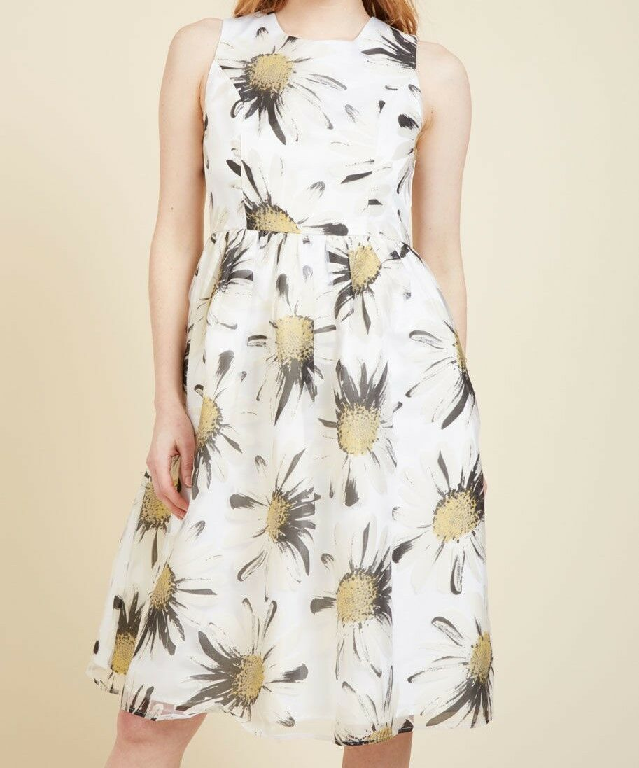 Liza Luxe Plus Größe 2X Daisy Floral Print Sleeveless Fit & Flare Dress