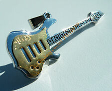 Pendentif Acier Inox Guitare Or Argent Rock + Chaine