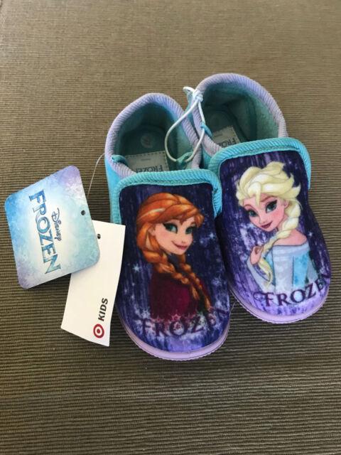BNWT Little Girls Size 5 Target Brand Disney Frozen Print Rubber Sole Slippers