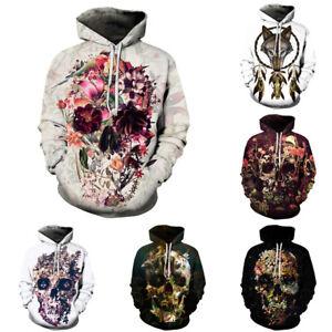 Men-039-s-Hoodie-3D-Skull-Print-Sweater-Sweatshirt-Jacket-Coat-Pullover-Graphic-Tops