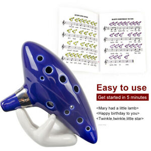 Ocarina-12-Tones-Alto-C-with-Song-Book-Display-Stand-Neck-Cord