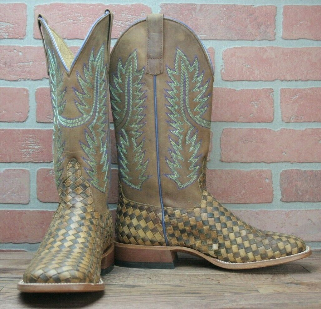 Horse Power Western Boot Men Weave Pull Tabs Roper Square Toast HP1758 - 9 EE