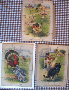 VIntage-Set-of-3-Cute-Puzzles-Cat-Dog-Turkey-Madmar-S-Gabriel-Children-Tennis