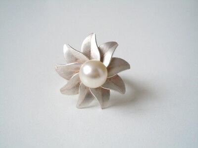 "Fine Rings Fine Jewelry Constructive 925 Sterling Silber ""tezer"" Designer Blumen Ring Mit Echter Perle 9,8 G/gr 54"