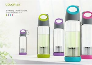 VIVO-Outdoor-Sporty-Glass-Bottle-with-Tea-Strainer-400ml-Apple-Green-HotPink