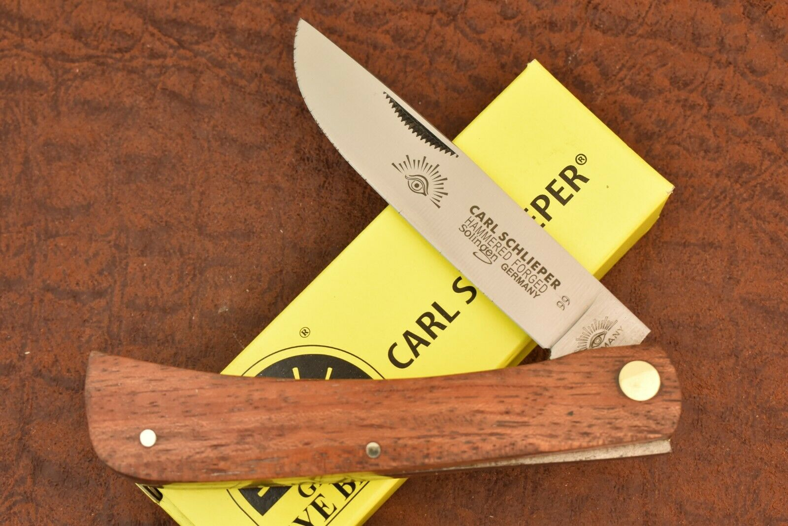 GERMAN EYE BRAND CARL SCHLIEPER JUMBO WOOD SODBUSTER KNIFE SOLINGEN GERMANY 8213