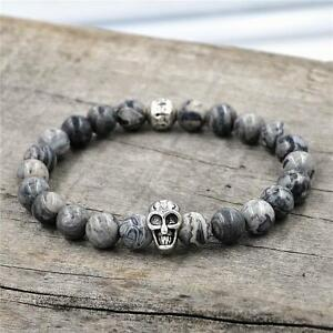 New-Men-039-s-Agate-Stone-And-Picasso-Stone-Silver-Skull-Bracelet-8mm-Bead-Gift-New