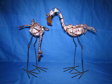 PAIR TALL PINK FLAMINGO STAINED GLASS COPPER AND METAL  VOLTIVE CANDLE HOLDERS