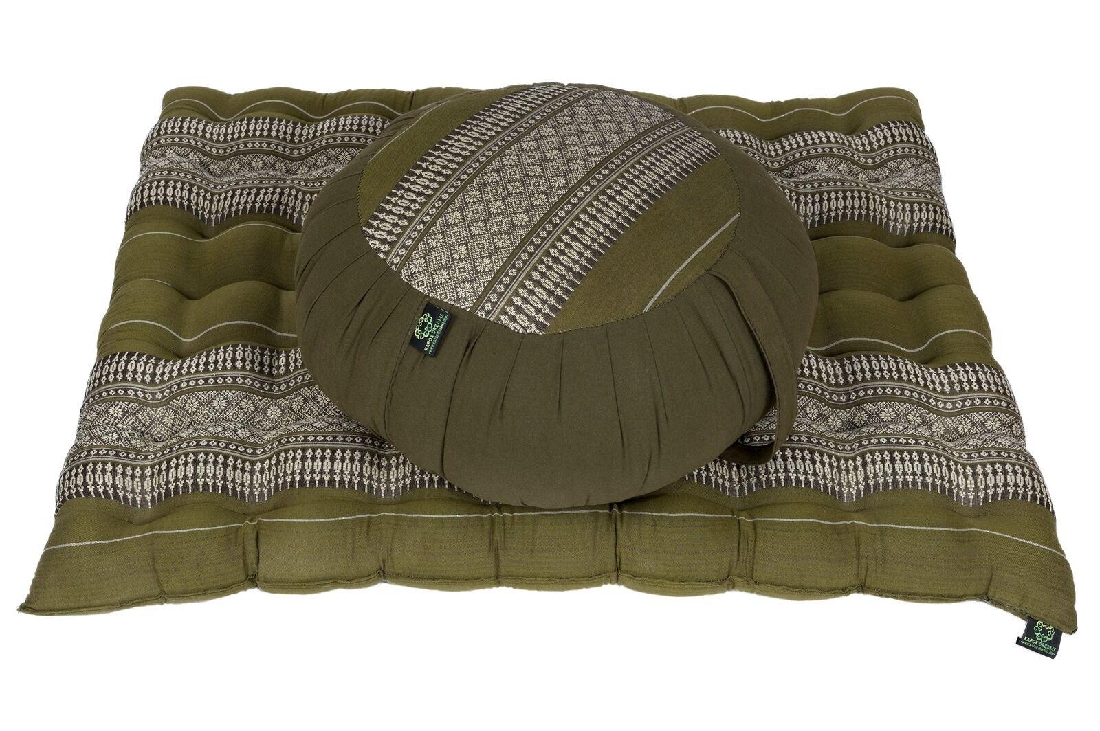 Zafu round Pillow Pouf + Zabuton Mat Meditation Seat Set Natural Kapok Filling F