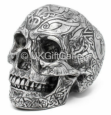 Large Pewter Finish Celtic Skull Statue Sculpture Ornament by Design Clinic NEW