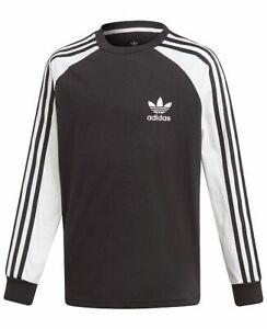adidas 3 Stripes White & Black Long Sleeve T Shirt
