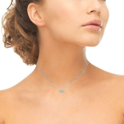 Details about  /Evil Eye Blue Cubic Zirconia Layered Choker Necklace in Sterling Silver