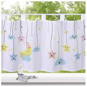 heimtexland ® Kinderzimmer Scheibengardine Deko Kinder Gardine Sterne Typ757