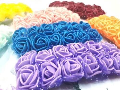 120 foamrosen Mousse Roses Avec Manche Roses têtes Mix MARIAGE DECO BRICOLAGE dek91