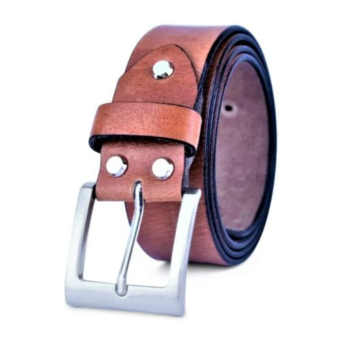 Leather Mens Belt Belts Real New Genuine Buckle Trouser Sizes Black Brown Jeans