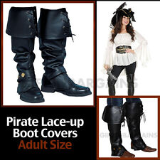 Boot Tops Pirate Costume Black  Shoe Covers Adult Women's Female Wench Lace-up