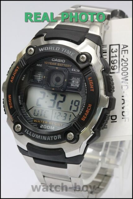 AE-2000WD-1A Casio Men's Watches Standard Digital Steel Band Silver Brand-New
