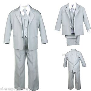 Infant Boys Toddler Teen Formal Wedding Party Recital Tuxedo Suit Silver sz S-20