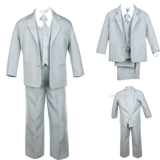 Infant Boys Toddler Teen Formal Wedding Party Recital Tuxedo Suit Silver sz S-20