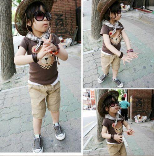 Korean Style Kids Toddler Fashion Cotton Tee Bear Face Logo Boys//Girls Style 425