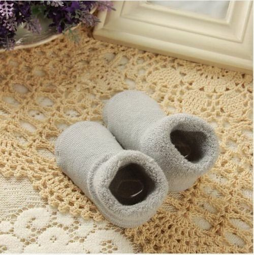 New Pure Color Thick Cotton Terry Newborn Baby Sock Autumn Winter 10cm