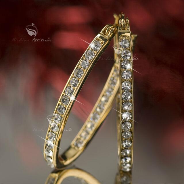 18k yellow gold gp genuine SWAROVSKI crystal hoop stud earrings oval hoops