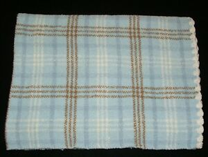 Carters Blue Brown Chenille Baby Blanket Scallop Trim Edge Plaid