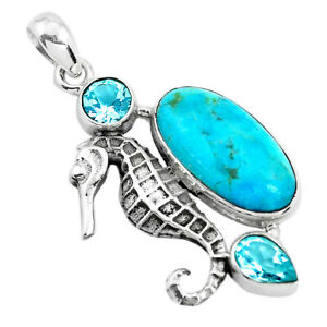11-23cts-Green-Arizona-Mohave-Turquoise-Topaz-925-Silver-Seahorse-Pendant-P41908