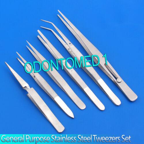 6pc General Purpose Stainless Steel Tweezers Set