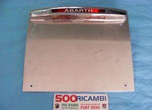 FIAT-500-F-L-R-PORTA-TARGA-SPORTIVO-ABARTH-IN-METALLO-CROMATO-CON-FANALE-LUCE