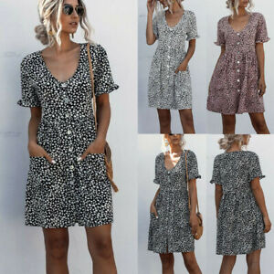 Womens-Summer-Holiday-Mini-Dress-Ladies-V-Neck-Polka-Dot-Beach-Dress-Sundress